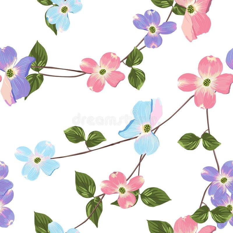 春天秋天紫罗兰色蓝色桃红色开花无缝的样式 水彩样式花卉背景 皇族释放例证