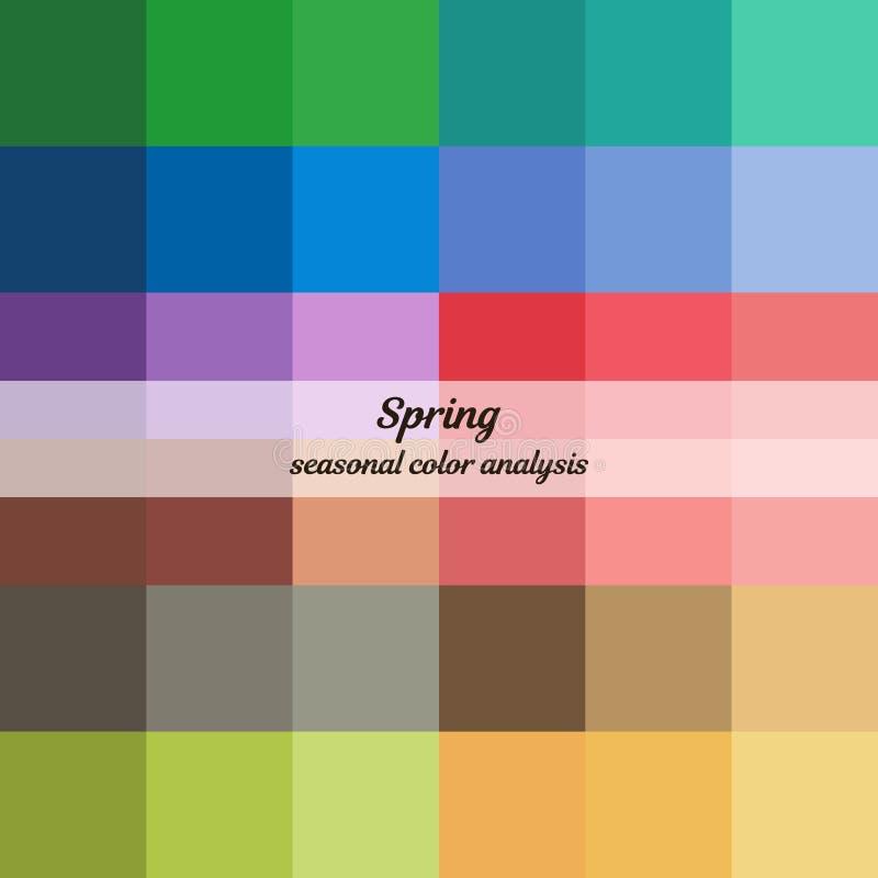 春天类型的季节性颜色分析调色板 女性出现的类型 皇族释放例证