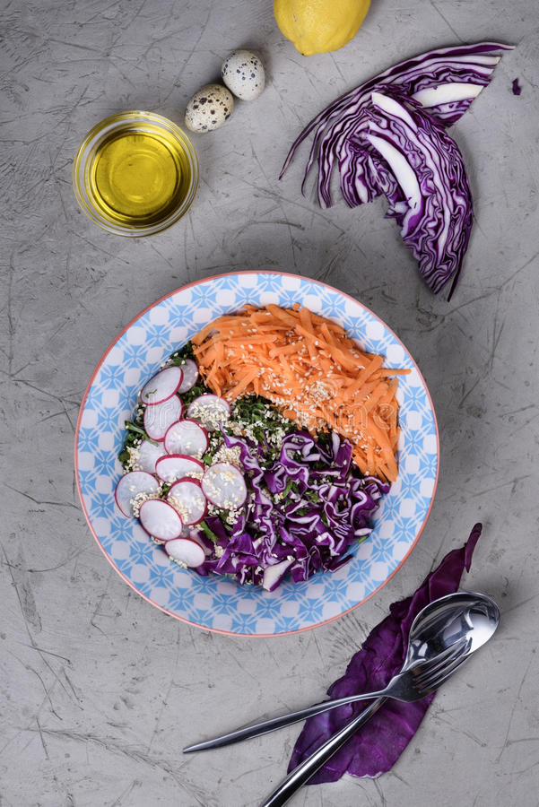 春天红叶卷心菜戒毒所沙拉  在重量白人妇女的美好的腹部概念损失 图库摄影
