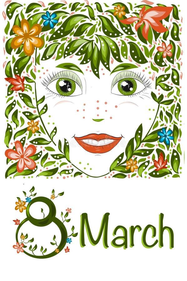 春天美女画象 女孩春天,夏天,象征开花的明信片国际妇女节3月8日, 向量例证