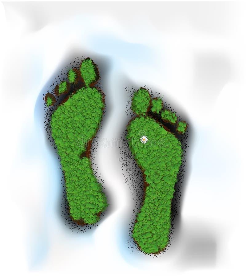 春天脚印,春天步,象草的脚印刷品在土壤围拢与熔化的雪,春天是以后的想法 向量例证
