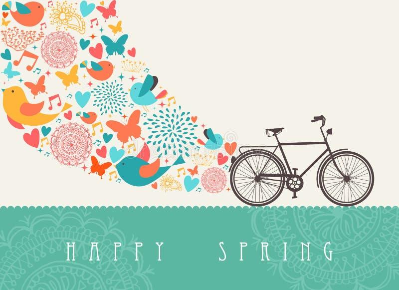 春天自行车概念 向量例证