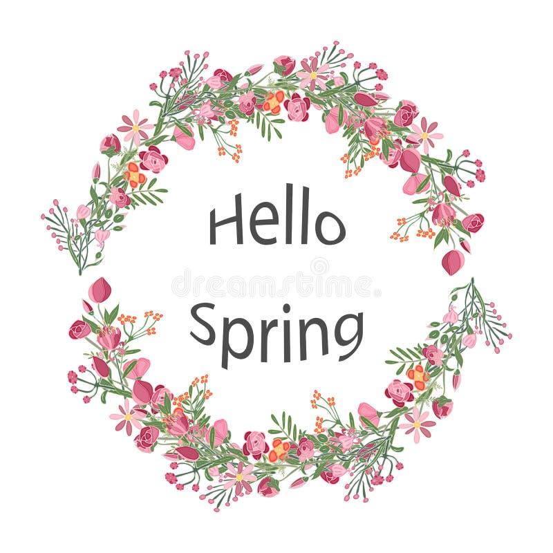 春天花传染媒介花圈  贺卡,海报,广告 向量例证