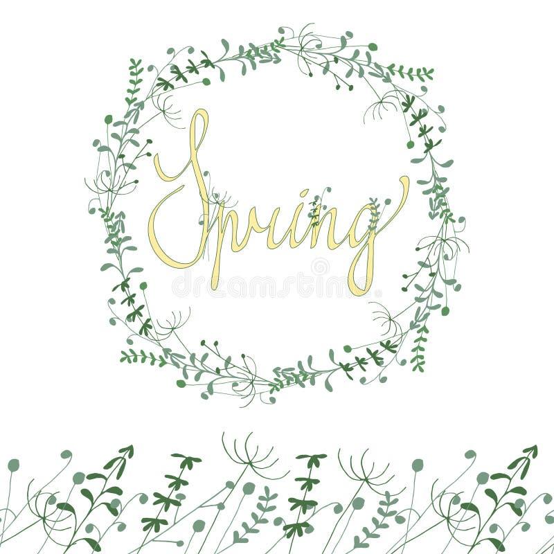 春天花卉框架 库存例证