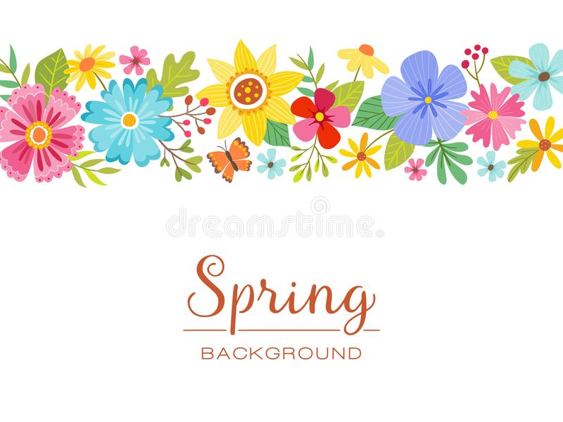 春天花卉被隔绝的横幅设计 向量例证