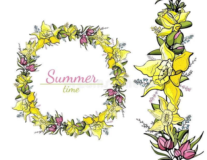 春天花和黄色黄水仙的圆和无缝的样式 向量例证