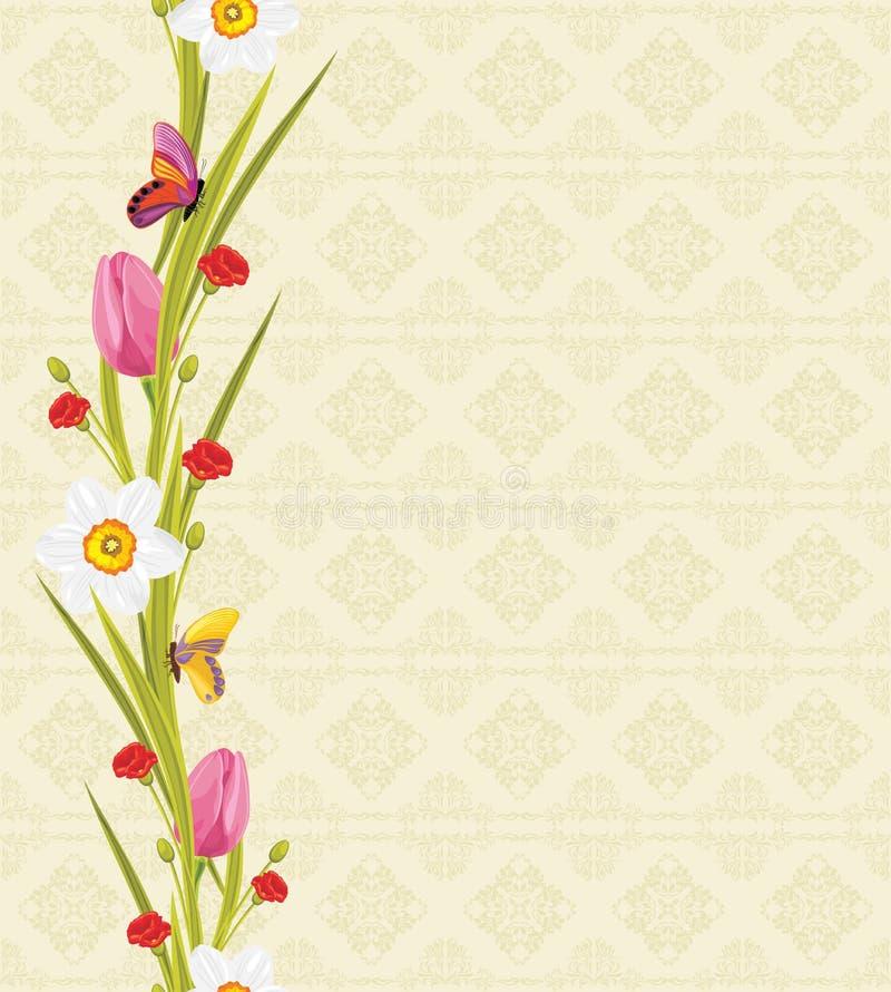 春天花和蝴蝶在无缝的装饰背景 库存例证