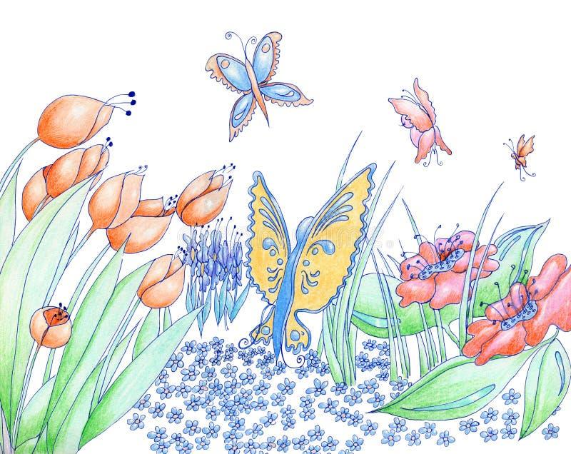 春天花和蝴蝶手拉的背景铅笔和 向量例证