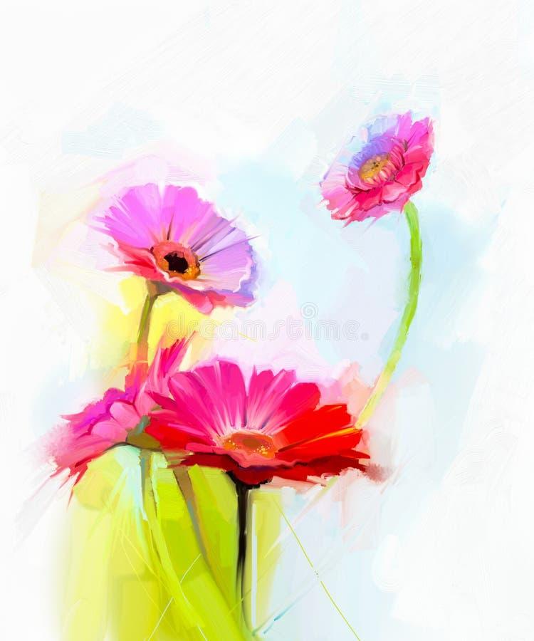 春天花抽象油画  黄色和红色大丁草花静物画  向量例证