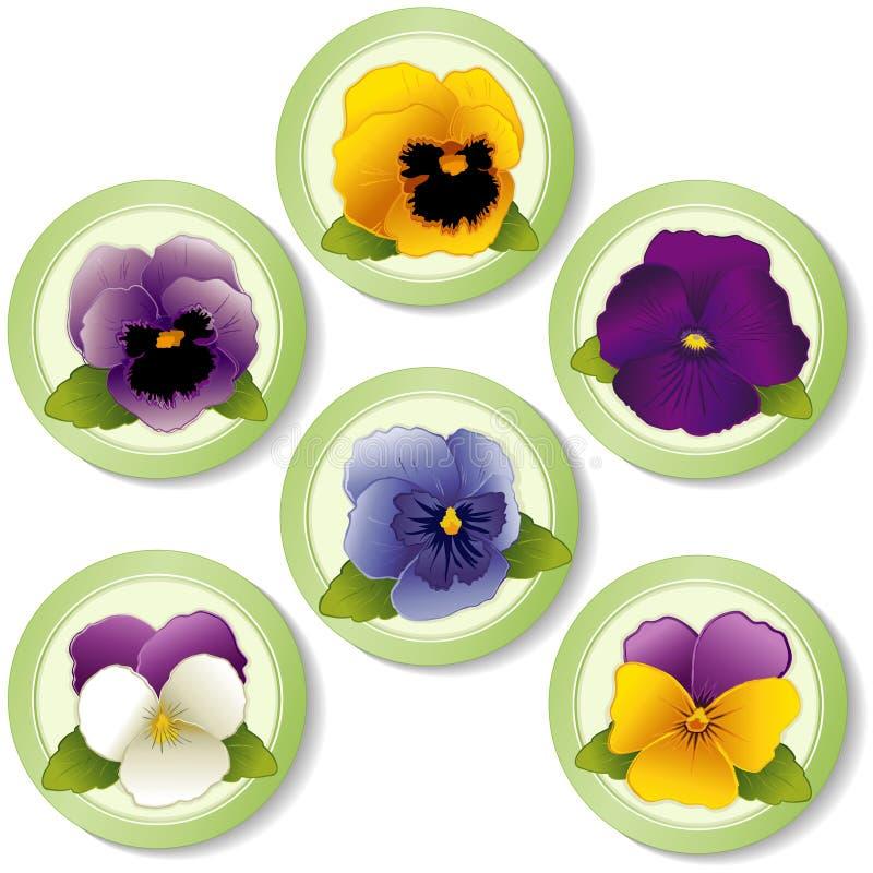 春天花按钮,蝴蝶花 向量例证