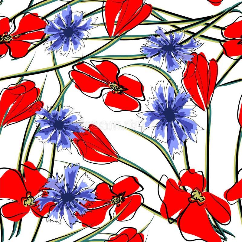 春天花田无缝的样式背景 开花的野生鸦片红色花与绿色词根、叶子和花卉芽的 ?? 皇族释放例证