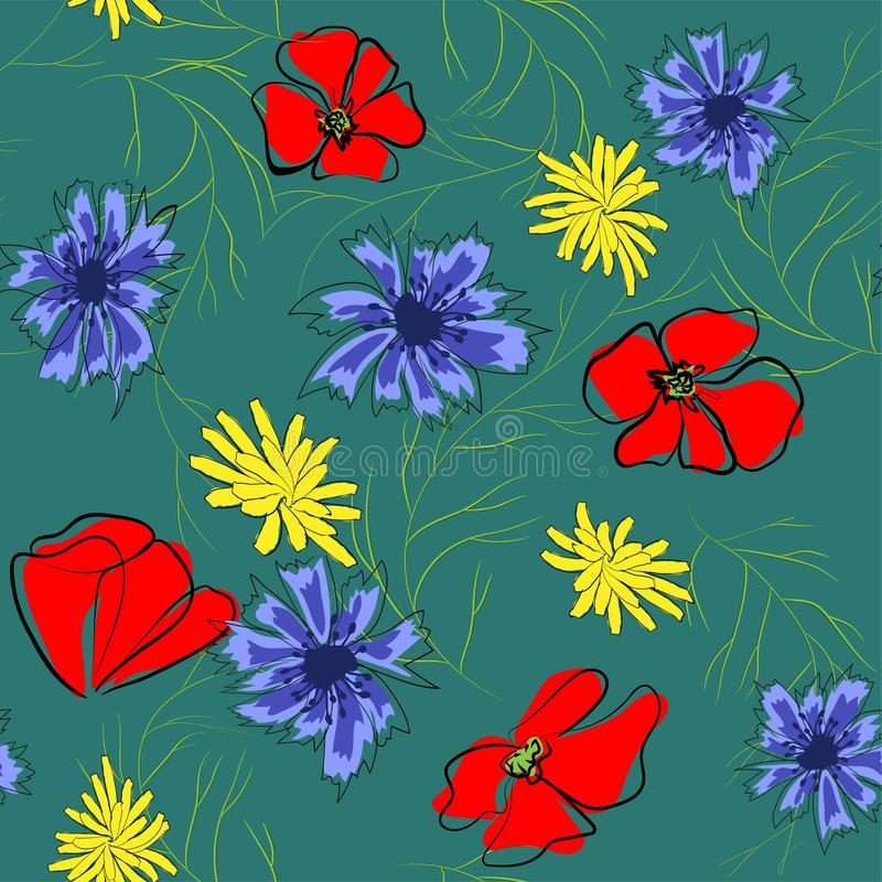 春天花的无缝的样式 鸦片,春黄菊,矢车菊 在绿色背景的例证 皇族释放例证