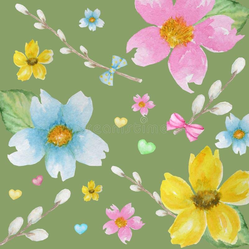 春天花,杨柳,弓,心脏背景样式 绿色,黄色,浅兰的颜色贴墙纸纹理 库存例证