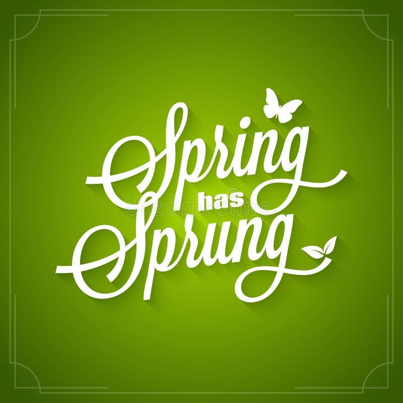 春天葡萄酒字法 春天有在绿色背景的被反弹的商标 向量例证
