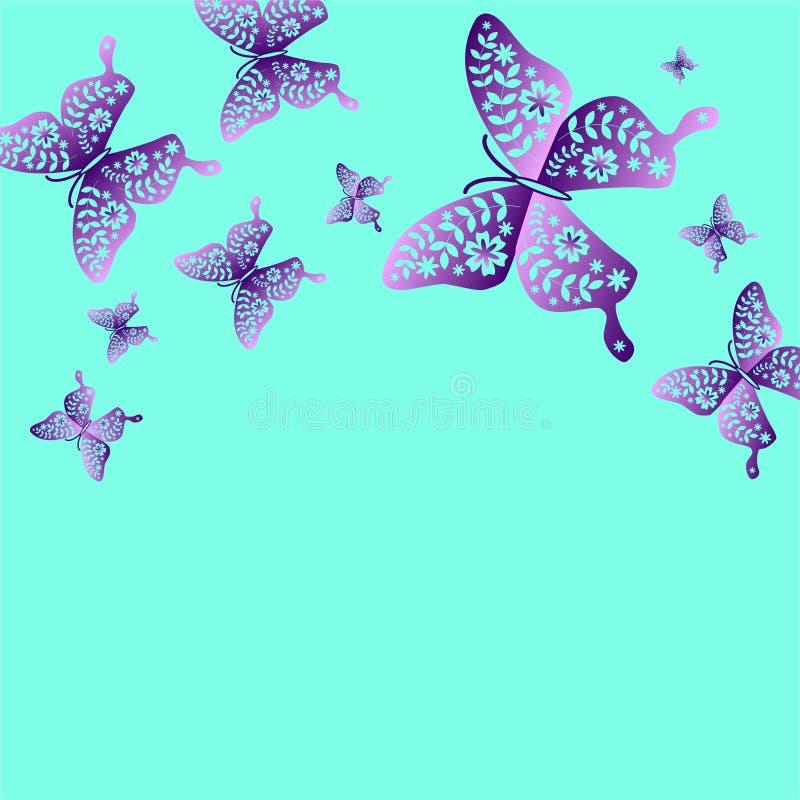 春天蝴蝶颜色构成 例证为容易的处理和自定义着色分层了堆积 库存例证