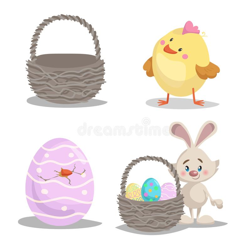 春天被设置的复活节标志和季节性传染媒介例证 空的篮子、逗人喜爱的小鸡男孩、复活节兔子与篮子和被绘的ha 皇族释放例证