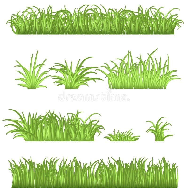 春天被设置的绿草边界 3d被隔绝的传染媒介例证 库存例证