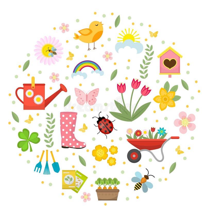春天象在圆形,平的样式设置了 设计元素的从事园艺的逗人喜爱的收藏,隔绝在白色背景 库存例证