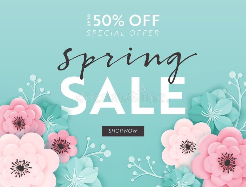 春天销售与纸刻花的横幅背景 春天折扣证件模板,小册子,海报,广告 库存例证