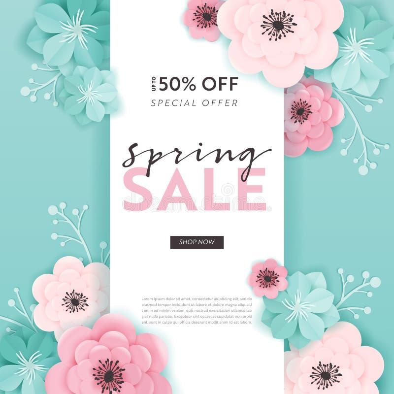 春天销售与纸刻花的横幅背景 春天折扣证件模板,小册子,海报,给促进做广告 库存例证