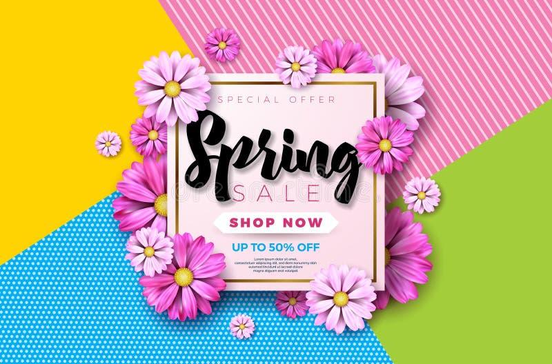 春天销售与美丽的五颜六色的花的背景设计 导航优惠券的,横幅,证件花卉设计模板 库存例证