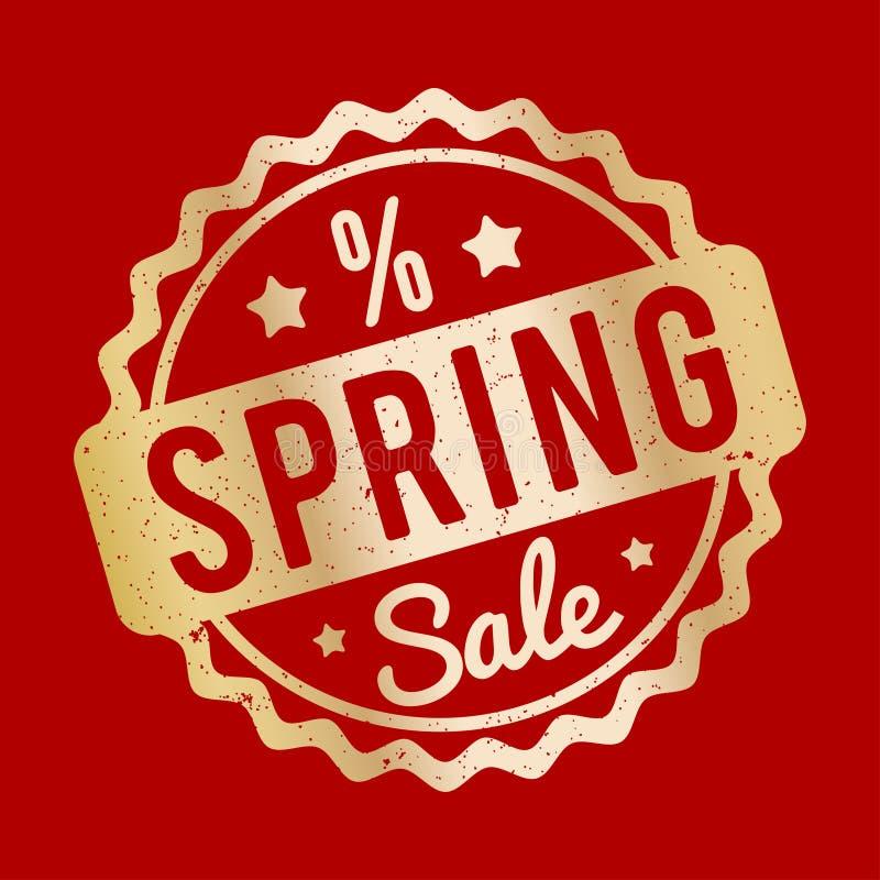 春天销售在被弄皱的纸棕色背景的不加考虑表赞同的人红色 库存例证
