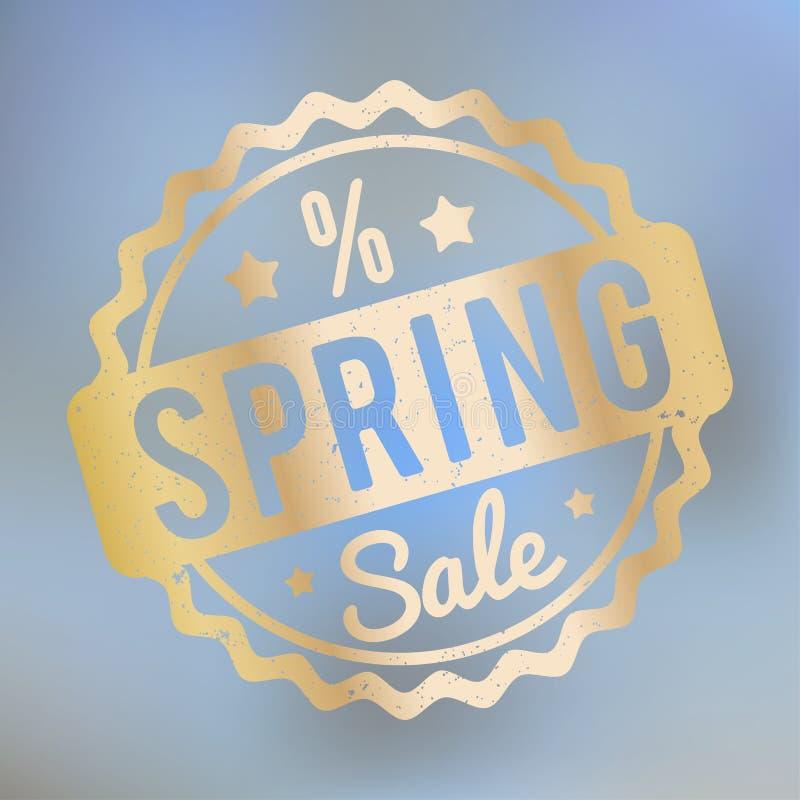 春天销售在lila bokeh背景的不加考虑表赞同的人金子 向量例证