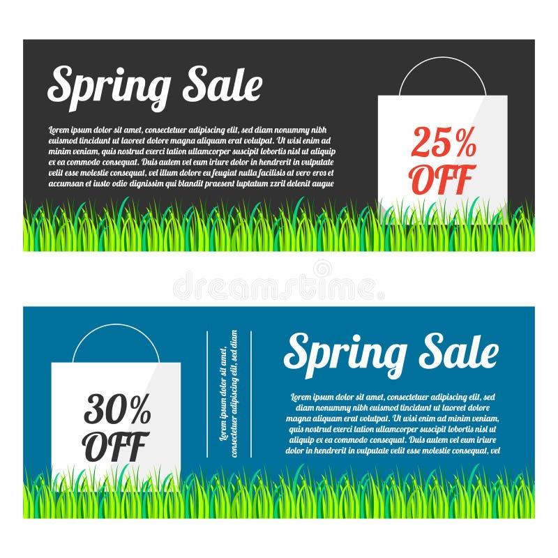 春天销售横幅集合 向量例证