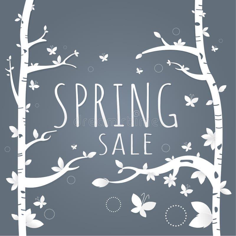 春天销售纸和树 叶子 蝴蝶 在黑暗的gra的白色 库存例证