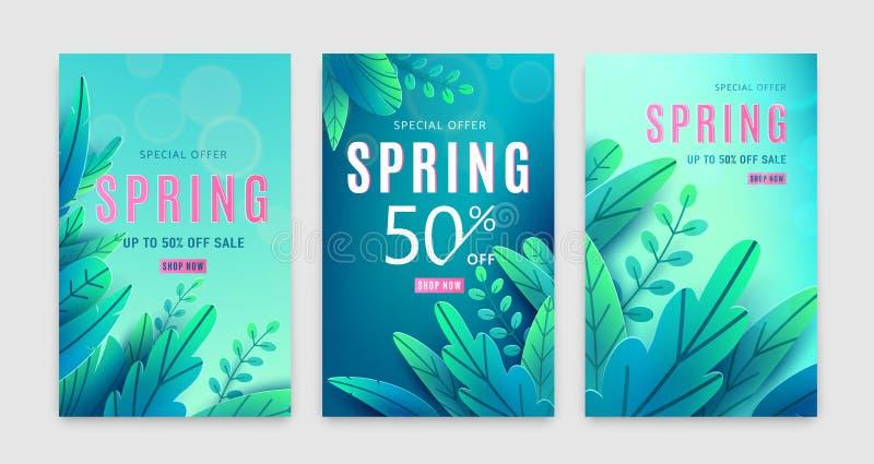 春天销售背景 春天折扣海报设置与鲜绿色的蓝色幻想叶子,光线影响,季节类型 库存例证