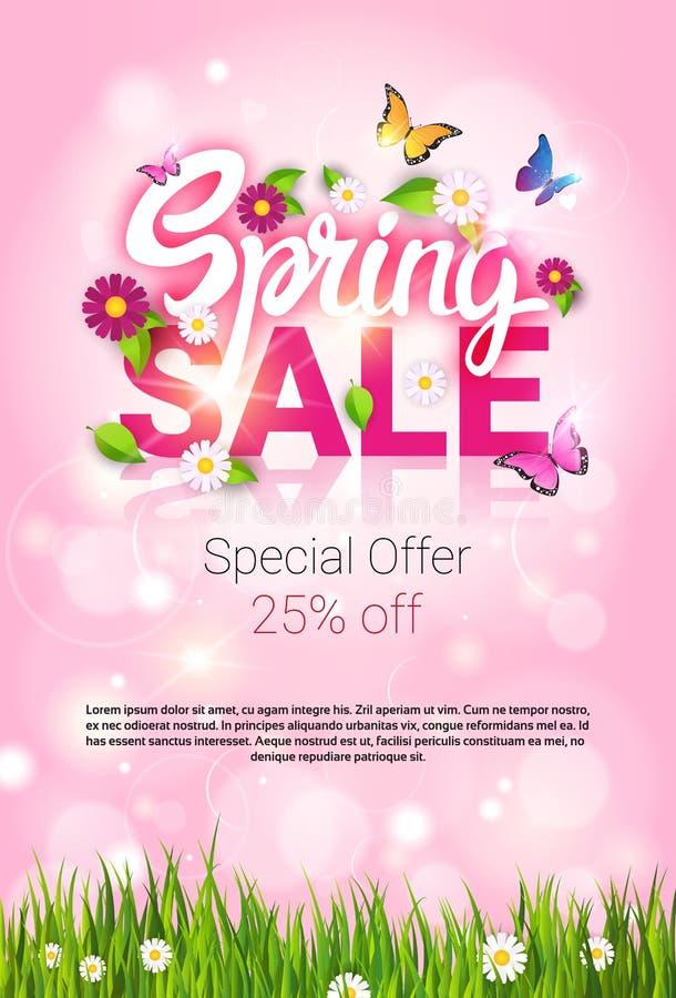春天销售购物的特价优待假日横幅 库存例证