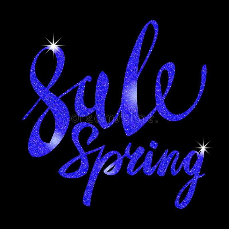 春天销售 蓝色题字油漆 耀眼,魅力,光,亮光,折扣 皇族释放例证