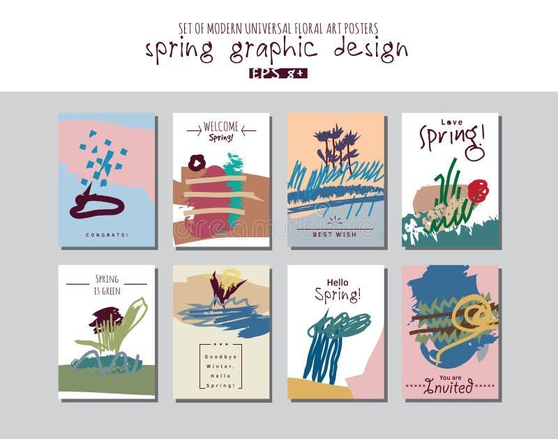 春天集合普遍花卉卡片或海报 库存例证