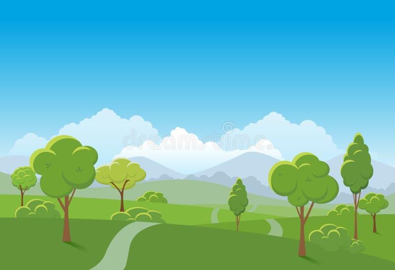春天风景背景 公园传染媒介例证 皇族释放例证