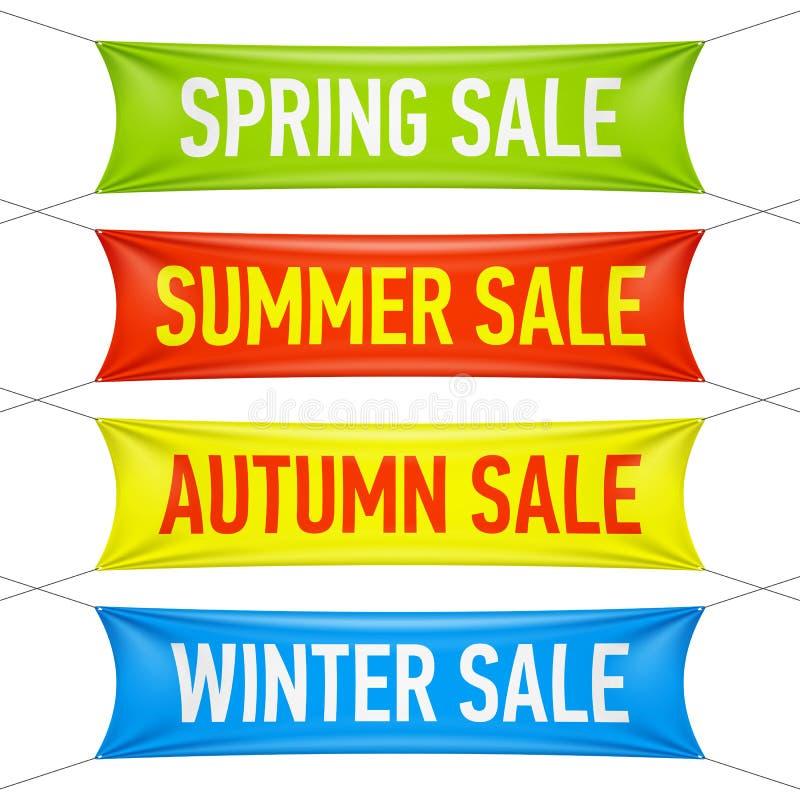 春天,夏天,秋天,冬天销售横幅 向量例证
