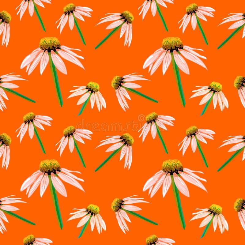 春天,夏季花,无缝的样式,传染媒介略图背景 库存例证