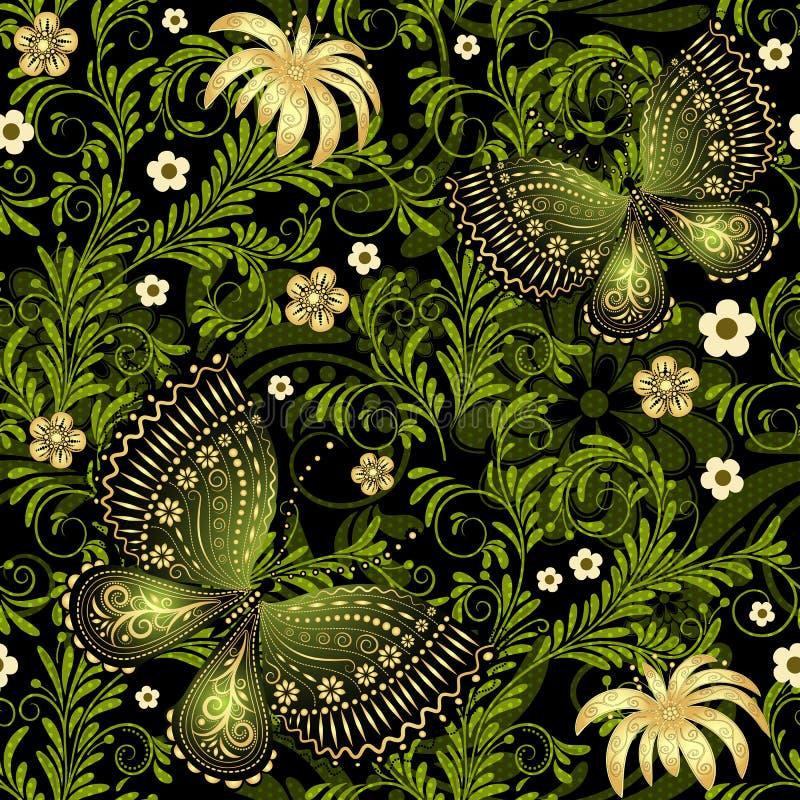 春天绿色金子无缝的样式 皇族释放例证
