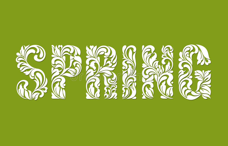 春天 装饰字体由漩涡和花卉元素做成在绿色背景 向量例证