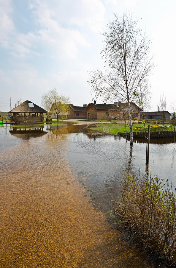 春天洪水,白俄罗斯 图库摄影