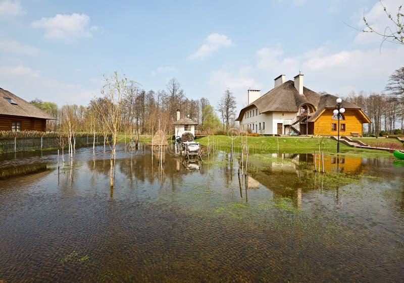 春天洪水,白俄罗斯 免版税库存图片