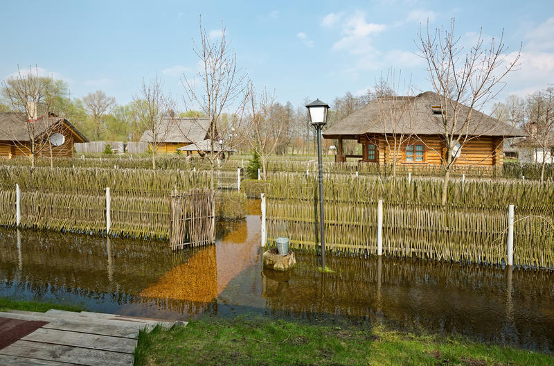 春天洪水,白俄罗斯 库存照片