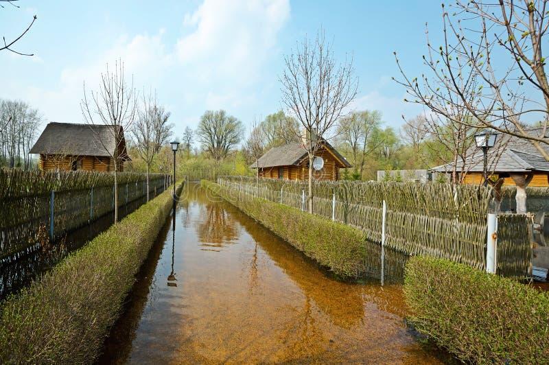 春天洪水,白俄罗斯 库存图片