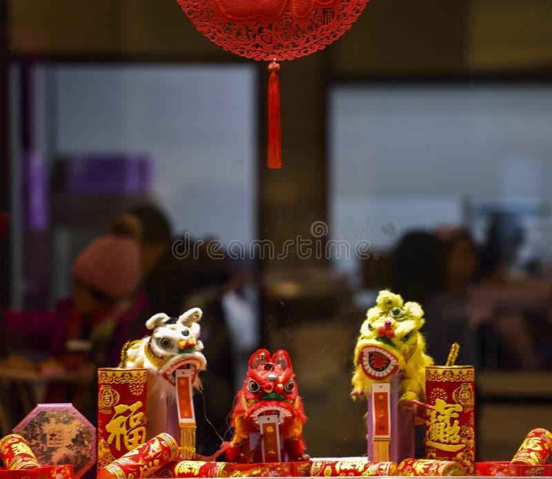 春节商店装饰在购物中心 库存照片