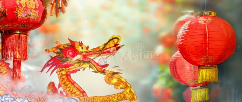 春节灯笼在唐人街 在意味爆发的灯笼的字符 免版税库存图片
