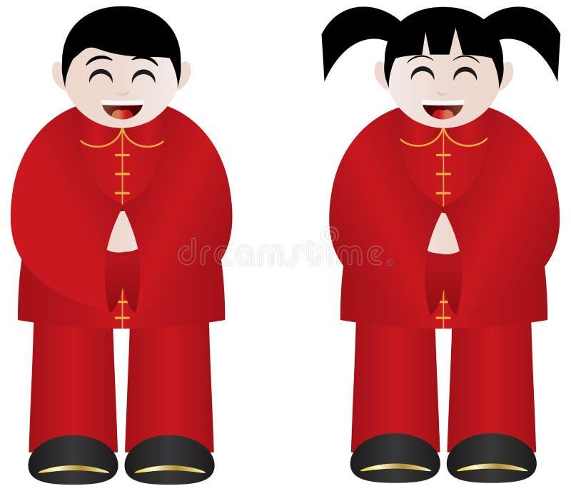 春节男孩和女孩 皇族释放例证