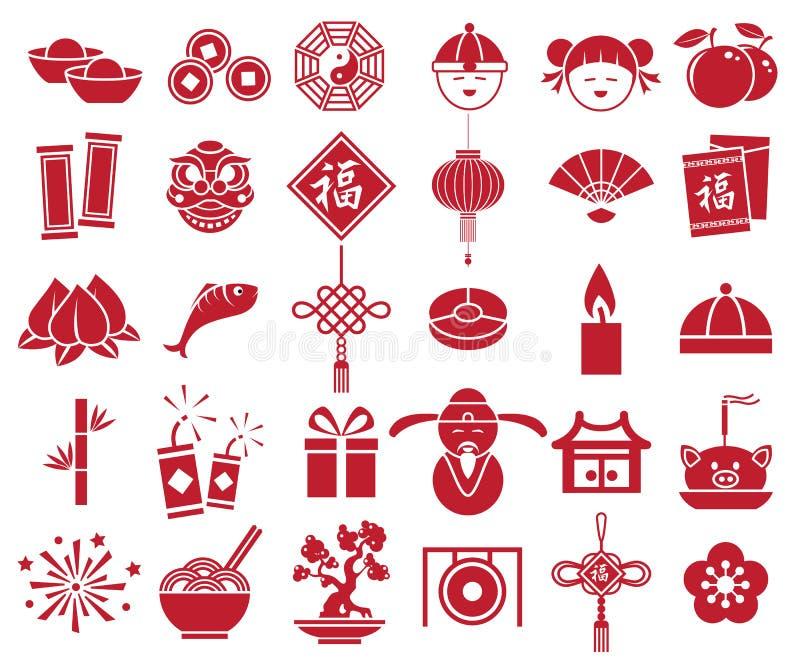 春节象标志符号集 皇族释放例证