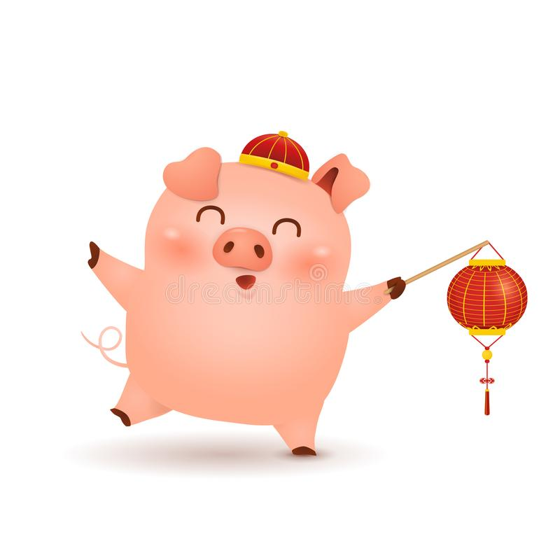 春节2019年 逗人喜爱的与在白色bac隔绝的欢乐传统朱红色的灯笼的动画片小的猪字符设计 库存例证