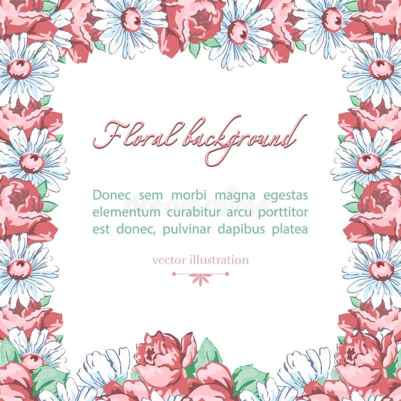 春黄菊和玫瑰色花方形的花框架,导航花卉背景,毗邻,缠绕 拉长的芽桃红色玫瑰花 皇族释放例证