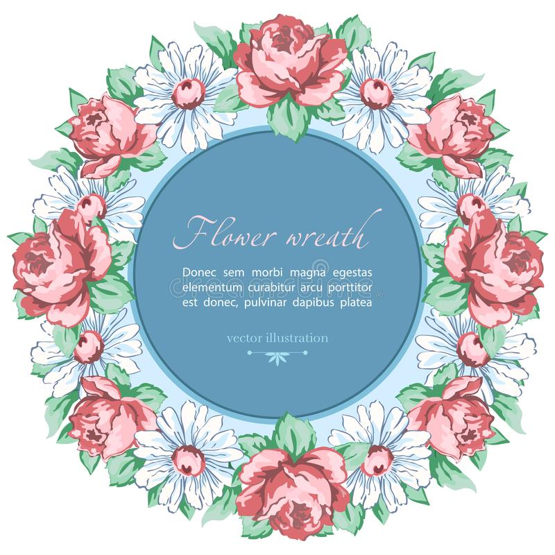 春黄菊和玫瑰色花花圈,导航花卉背景,圆的花框架,边界 拉长的芽桃红色玫瑰花和白色ch 皇族释放例证