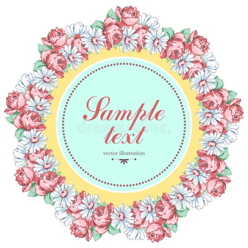 春黄菊和玫瑰色花花圈,导航花卉背景,圆的花框架,边界 拉长的芽桃红色玫瑰花 向量例证
